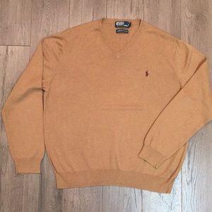 Polo by Ralph Lauren Men's Camel V-Neck Sweater